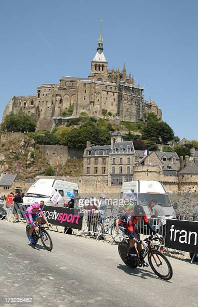 Marcus Burghardt of Germany and BMC Racing Team Elia Favilli of Italy and Team LampreMerida in action during Stage Eleven of the Tour de France 2013...
