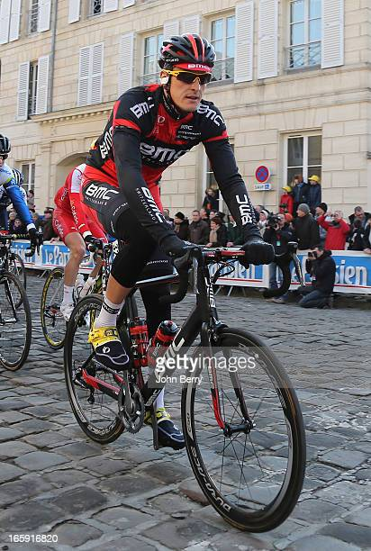 Marcus Burghardt of Germany and BMC Racing Team gets ready before the start of the 111th edition of ParisRoubaix at the 'Place du Chateau' on April 7...