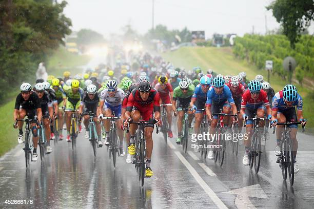 Marcus Burghardt of Germany and BMC Racing Team leads the bunch during the nineteenth stage of the 2014 Tour de France a 208km stage between...