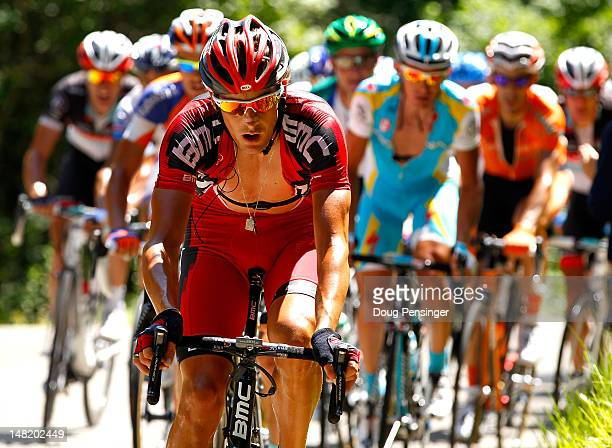 Marcus Burghardt of Germany riding for BMC Racing leads the breakaway on the climb of the Col du Grand Columbier during stage ten of the 2012 Tour de...