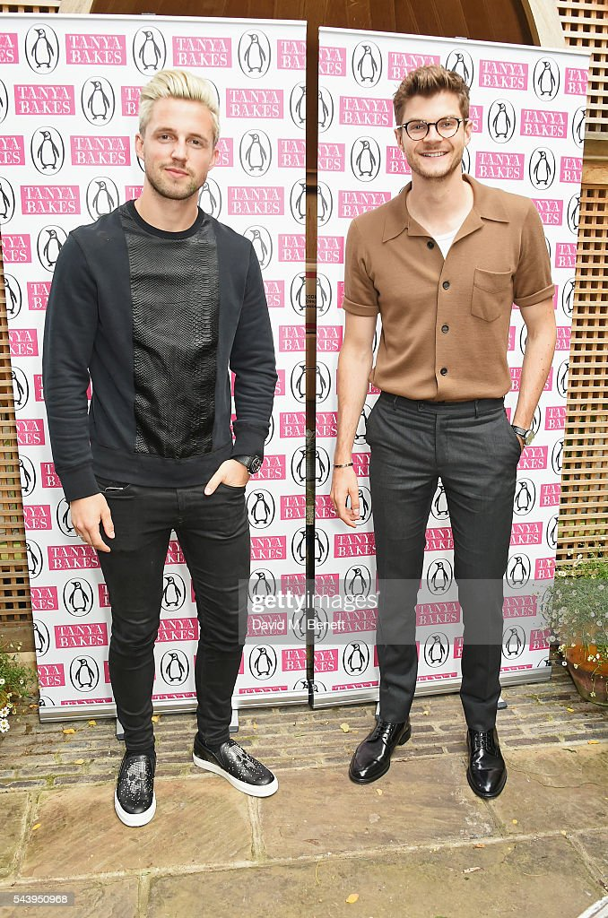 Marcus Butler (L) and Jim Chapman attend an intimate dinner hosted by Tanya Burr to launch her first cookbook 'Tanya Bakes' at Number Sixteen on June 30, 2016 in London, England.