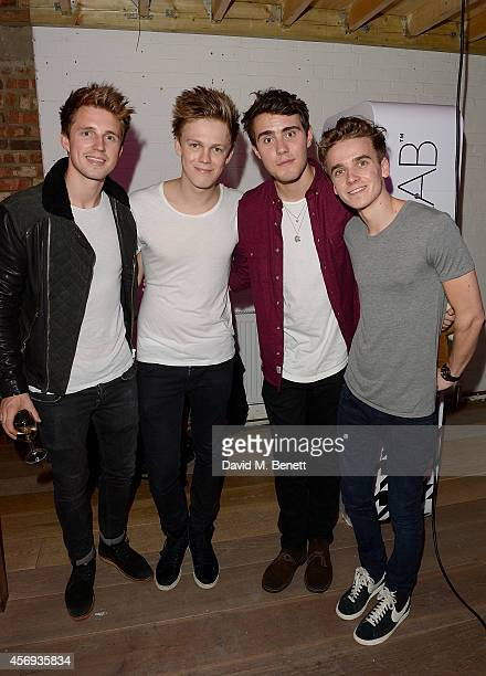 Marcus Butler Caspar Lee Alfie Deyes and Joe Sugg attend as Ruth Crilly unveils a new haircare sensation 'Colab' on October 9 2014 in London England