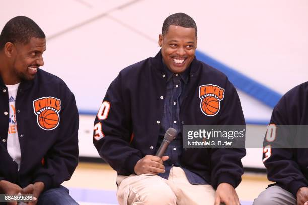 Marcus Camby of the 1999 New York Knicks team smiles during an interview on April 2 2017 at Madison Square Garden Training Center in Greenburgh New...