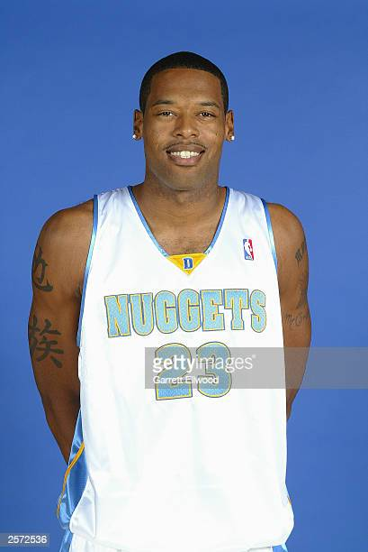 Marcus Camby of the Denver Nuggets poses for a portrait during NBA Media Day at the Pepsi Center on October 2 2003 in Denver Colorado NOTE TO USER...