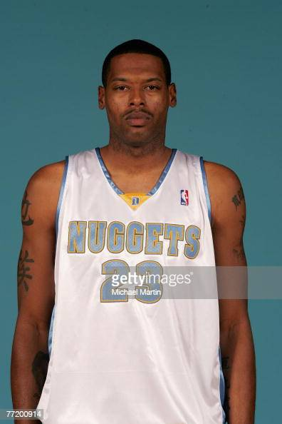Marcus Camby of the Denver Nuggets poses for a portrait during NBA Media Day at the Pepsi Center on October 1 2007 in Denver Colorado NOTE TO USER...