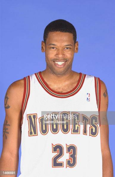 Marcus Camby of the Denver Nuggets poses for a portrait during the Nuggets Media Day on September 30 2002 at Pepsi Center in Denver Colorado NOTE TO...