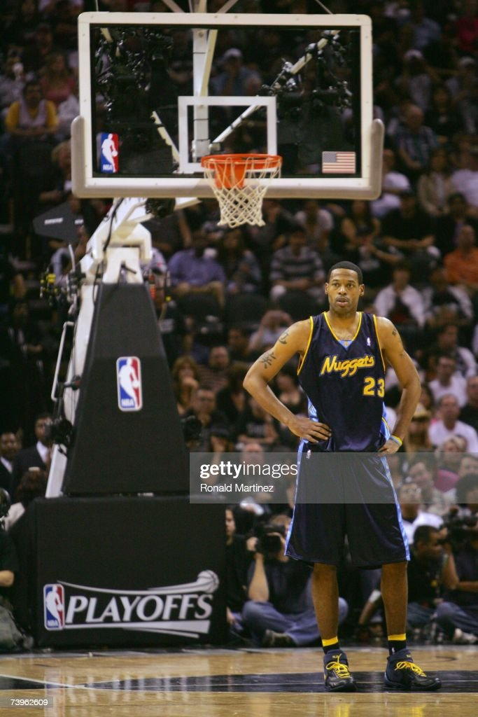 Marcus Camby #23 of the Denver Nuggets stands on the court in Game One of the Western Conference Quarterfinals against the San Antonio Spurs during the 2007 NBA Playoffs at the AT&T Center on April 22, 2007 in San Antonio, Texas. The Nuggets won 95-89.