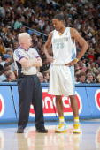 Marcus Camby of the Denver Nuggets talks to referee Joe Crawford during the game against the Los Angeles Lakers on April 9 2007 at the Pepsi Center...