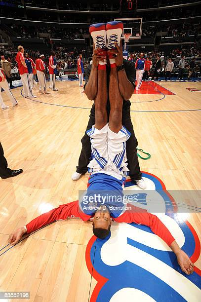 Marcus Camby of the Los Angeles Clippers is stretched out prior to the game against the Utah Jazz at Staples Center on November 3 2008 in Los Angeles...