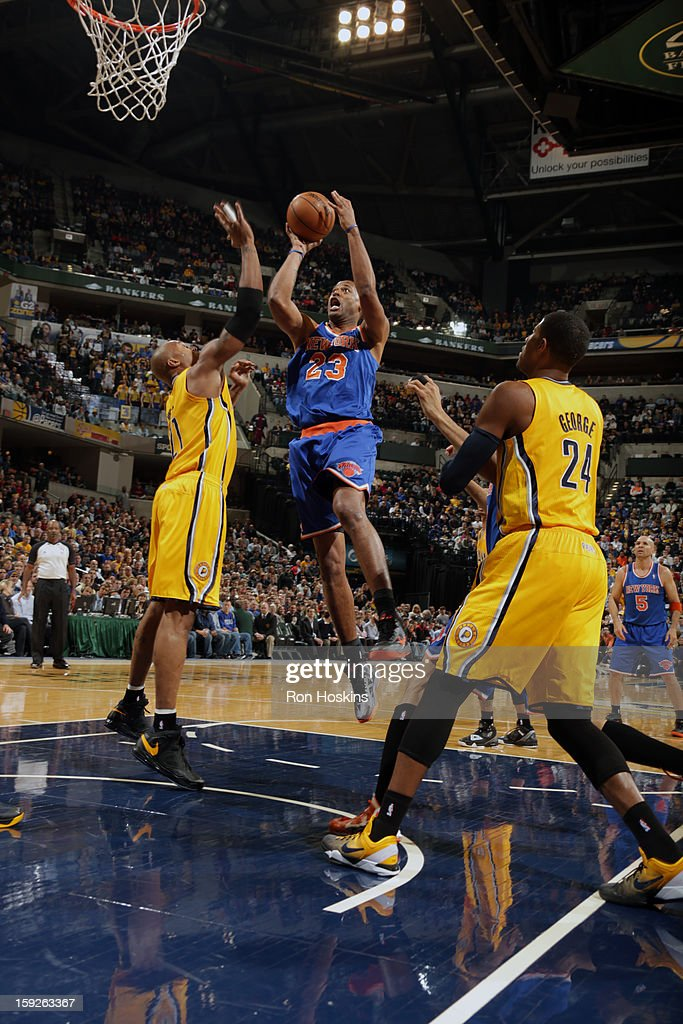 Marcus Camby #23 of the New York Knicks drives to the hoop against the Indiana Pacers on January 10, 2013 at Bankers Life Fieldhouse in Indianapolis, Indiana.