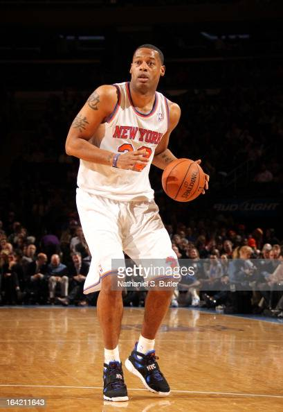 Marcus Camby of the New York Knicks handles the ball against the Orlando Magic on March 20 2013 at Madison Square Garden in New York City NOTE TO...