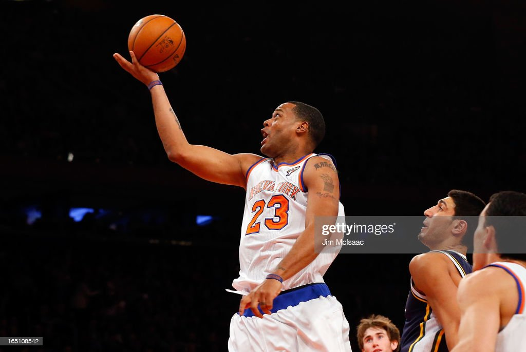 Marcus Camby #23 of the New York Knicks in action against the Utah Jazz at Madison Square Garden on March 9, 2013 in New York City. The Knicks defeated the Jazz 113-84.