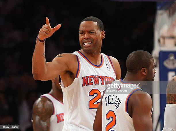 Marcus Camby of the New York Knicks is ejected from the game against the Memphis Grizzlies at Madison Square Garden on March 27 2013 in New York City...