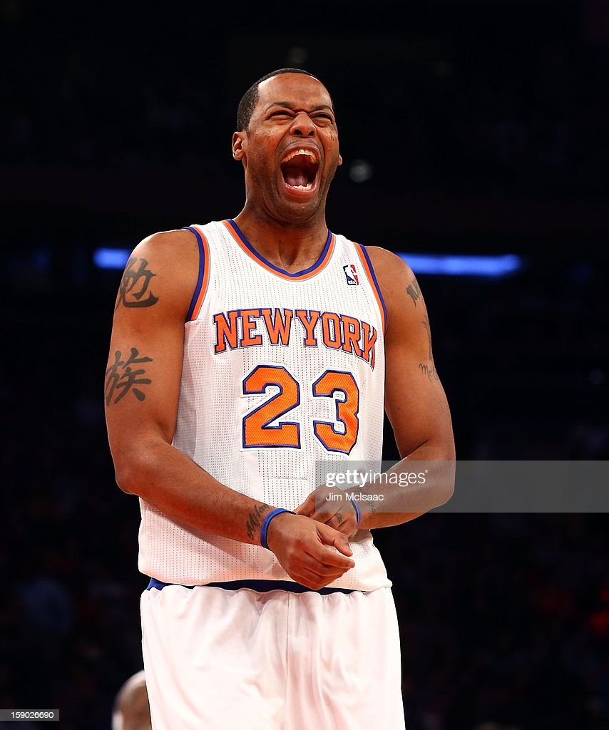 Marcus Camby #23 of the New York Knicks reacts before playing against the San Antonio Spurs at Madison Square Garden on January 3, 2013 in New York City. The Knicks defeated the Spurs 100-83.
