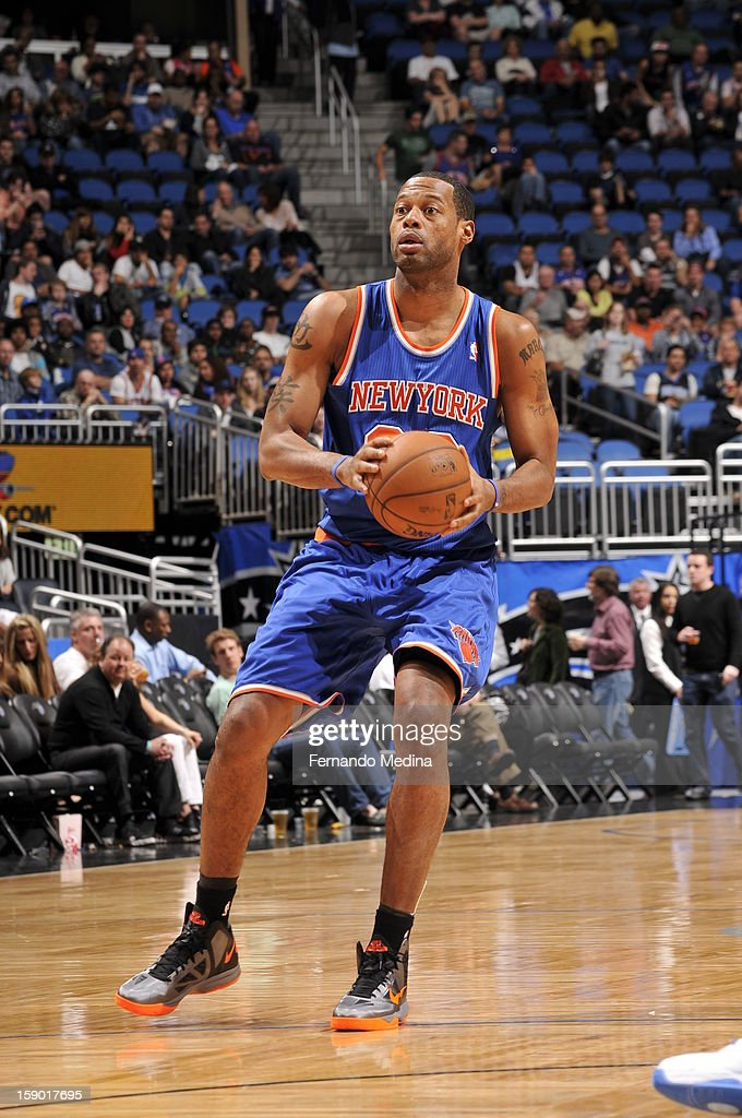 Marcus Camby #23 of the New York Knicks sets up for a shot against the Orlando Magic during the game on January 5, 2013 at Amway Center in Orlando, Florida.