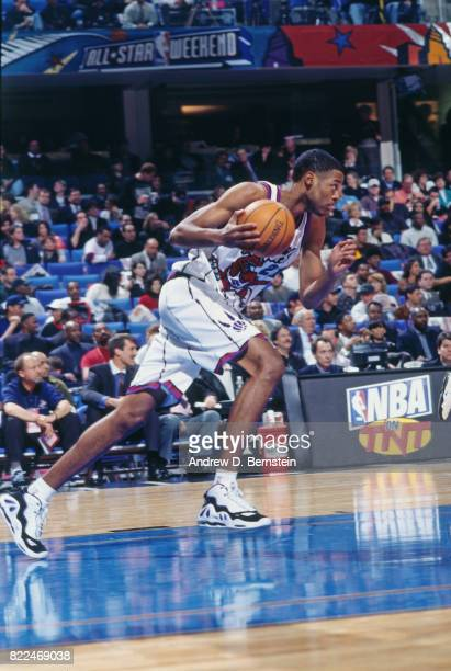Marcus Camby of the Toronto Raptors dribbles during the 1997 Rookie Game played February 8 1997 at the Gund Arena in Cleveland Ohio NOTE TO USER User...