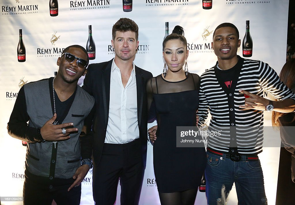 Marcus Canty, Robin Thicke, Bridget Kelly and Deon Young attend the Remy Martin V.S.O.P Ringleader Culmination Event with Robin Thicke at Marquee on March 4, 2013 in New York City.