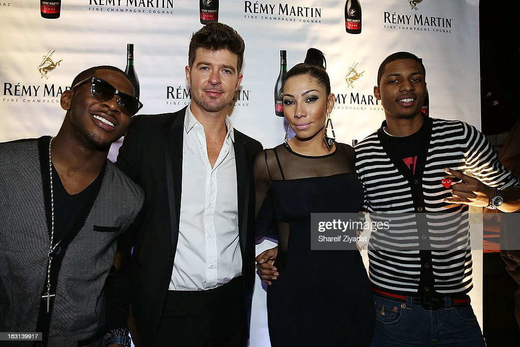 Marcus Canty, <a gi-track='captionPersonalityLinkClicked' href=/galleries/search?phrase=Robin+Thicke&family=editorial&specificpeople=724390 ng-click='$event.stopPropagation()'>Robin Thicke</a>, Bridget Kelly and Deon Young attends the Remy Martin V.S.O.P Ringleader Culmination Event with <a gi-track='captionPersonalityLinkClicked' href=/galleries/search?phrase=Robin+Thicke&family=editorial&specificpeople=724390 ng-click='$event.stopPropagation()'>Robin Thicke</a> at Marquee on March 4, 2013 in New York City.