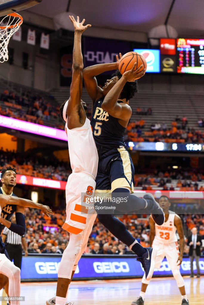 Marcus Carr #5 of the Pittsburgh Panthers goes up for the shot during the first half of play between the Syracuse Orange and the Pittsburgh Panthers on January 16th, 2018 at the Carrier Dome in Syracuse, NY.