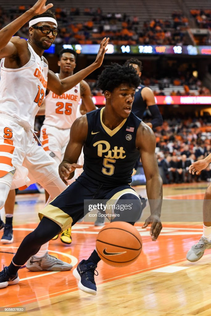 Marcus Carr #5 of the Pittsburgh Panthers puts the brakes on mid turn during the first half of play between the Syracuse Orange and the Pittsburgh Panthers on January 16th, 2018 at the Carrier Dome in Syracuse, NY.