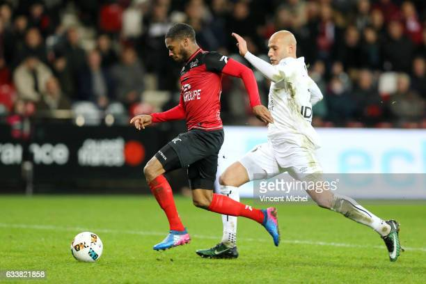 Marcus Coco of Guingamp and Ala Eddine Yahia of Caen during the Ligue 1 match between EA Guingamp and SM Caen at Stade du Roudourou on February 4...