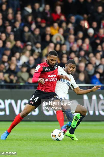 Marcus Coco of Guingamp and Almamy Toure of Monaco during the French Ligue 1 match between Guingamp and Monaco at Stade du Roudourou on February 25...