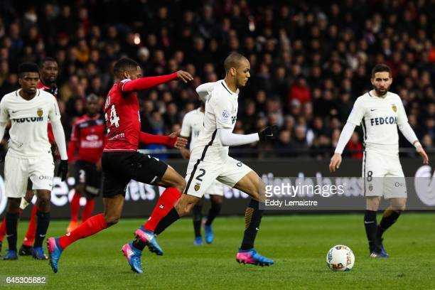 Marcus Coco of Guingamp and Fabio Tavares of Monaco during the French Ligue 1 match between Guingamp and Monaco at Stade du Roudourou on February 25...