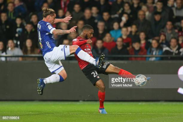 Marcus Coco of Guingamp and Medhi Mostefa of Bastia during the Ligue 1 match between EA Guingamp and SC Bastia at Stade du Roudourou on March 11 2017...