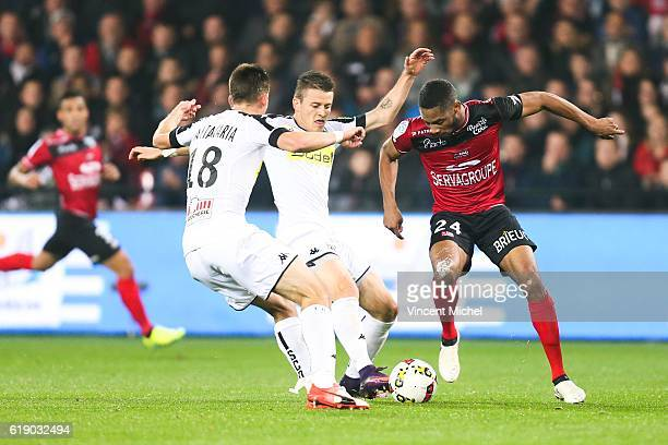 Marcus Coco of Guingamp and Pierrick Capelle of Angers during the Ligue 1 match between Guingamp and Angers at Stade du Roudourou on October 29 2016...