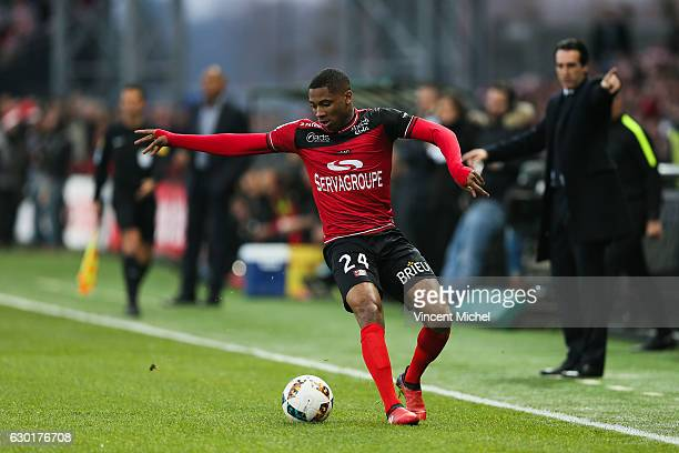 Marcus Coco of Guingamp during the French Ligue 1 match between Guingamp and Paris Saint Germain at Stade du Roudourou on December 17 2016 in...