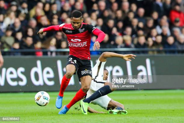 Marcus Coco of Guingamp during the French Ligue 1 match between Guingamp and Monaco at Stade du Roudourou on February 25 2017 in Guingamp France
