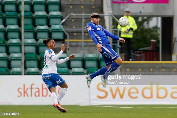 Marcus Danielsson of GIF Sundsvall and Andreas Blomqvist of IFK Norrkoping during the Allsvenskan match between GIF Sundsvall and IFK Norrkoping at...