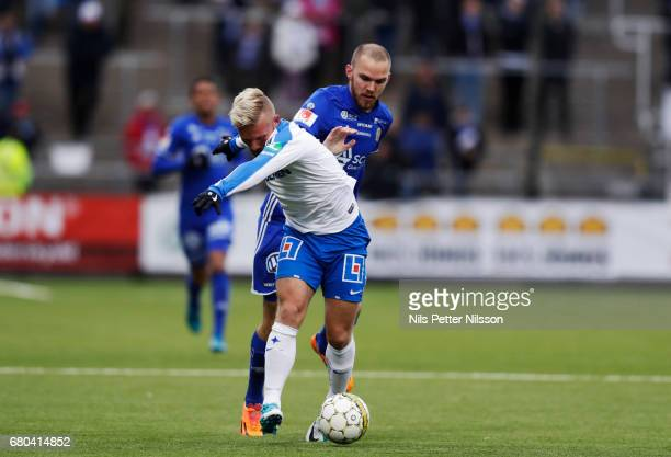 Marcus Danielsson of GIF Sundsvall and Nicklas Barkroth of IFK Norrkoping during the Allsvenskan match between IFK Norrkoping and GIF Sundsvall at...