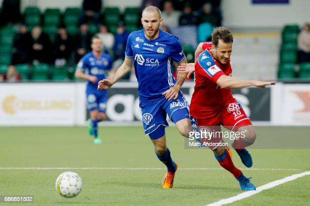 Marcus Danielsson of GIF Sundsvall and Tobias Hysen of IFK Goteborg in action during the Allsvenskan match between GIF Sundsvall and IFK Goteborg at...