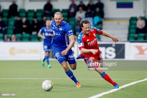 Marcus Danielsson of GIF Sundsvall and Tobias Hysen of IFK Goteborg during the Allsvenskan match between GIF Sundsvall and IFK Goteborg at...