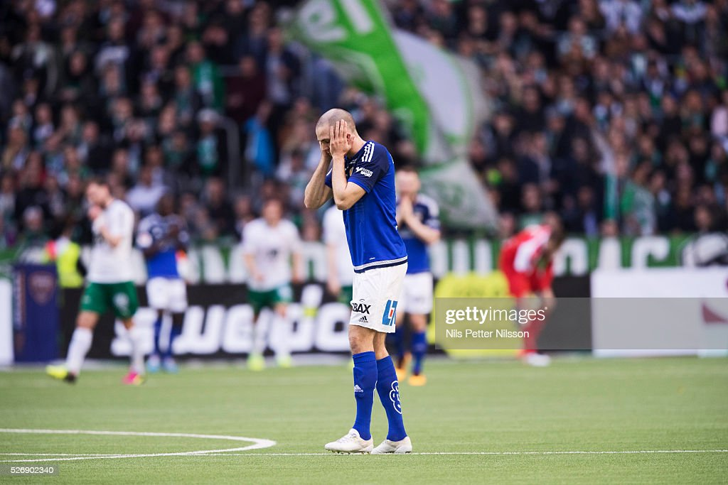 Marcus Danielsson of GIF Sundsvall dejected during the Allsvenskan match between Hammarby IF and GIF Sundsvall at Tele2 Arena on May 1, 2016 in Stockholm, Sweden.