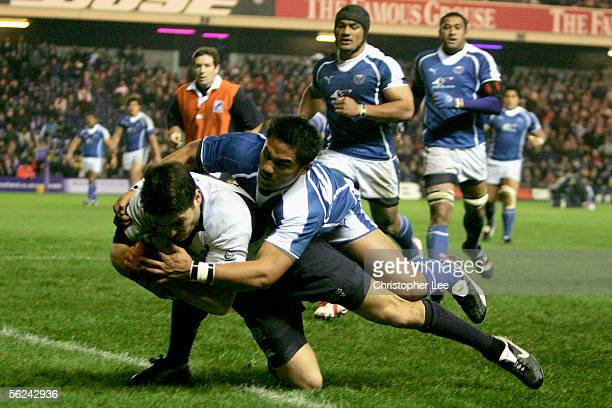 Marcus Di Rollo of Scotland scores their winning try during the Bank of Scotland Corporate Autumn Test Series match between Scotland and Samoa at...