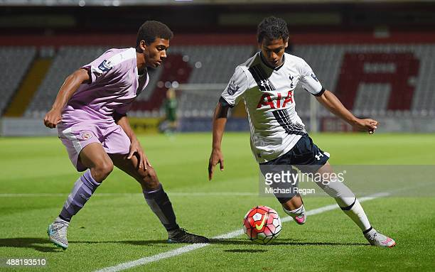 Marcus Edwards of Spurs in action with Andy Rinomhota of Reading during the Barclays U21 Premier League match between Tottenham Hotspur and Reading...