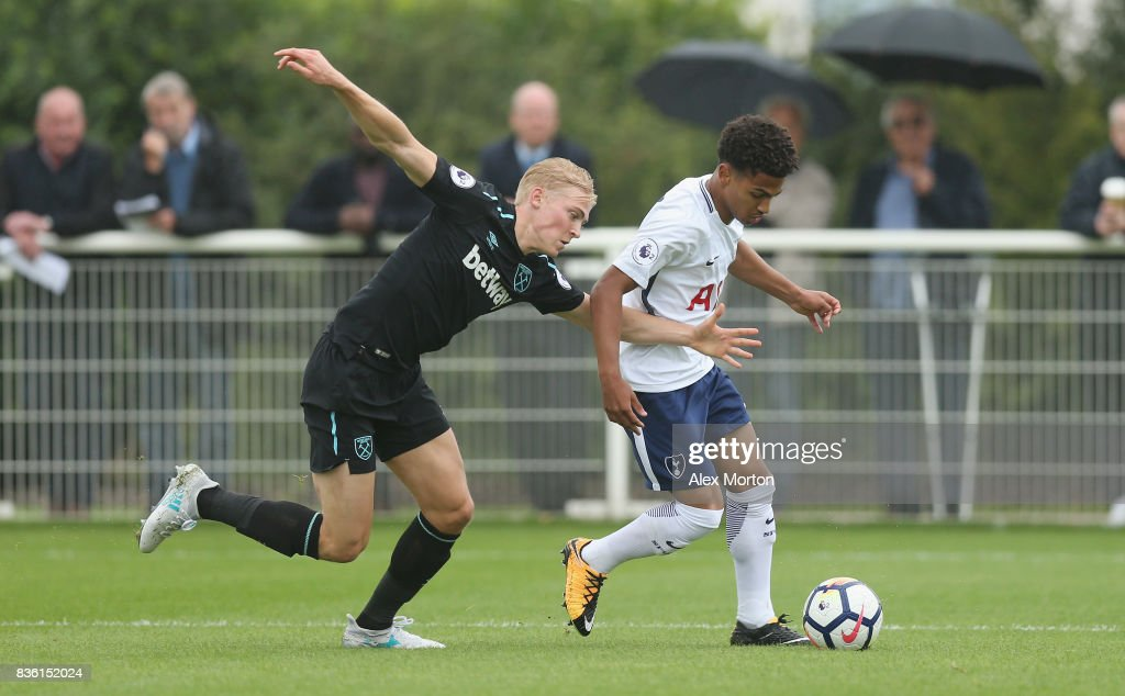 Marcus Edwards of Tottenham and Alex Pike of West Ham during the Premier League 2 match between Tottenham Hotspur and West Ham United at Tottenham Hotspur Training Centre on August 21, 2017 in Enfield, England.