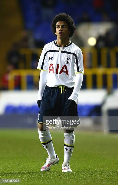 Marcus Edwards of Tottenham during the FA Youth Cup Fifth Round match between Tottenham Hotspur and Manchester United at White Hart Lane on February...