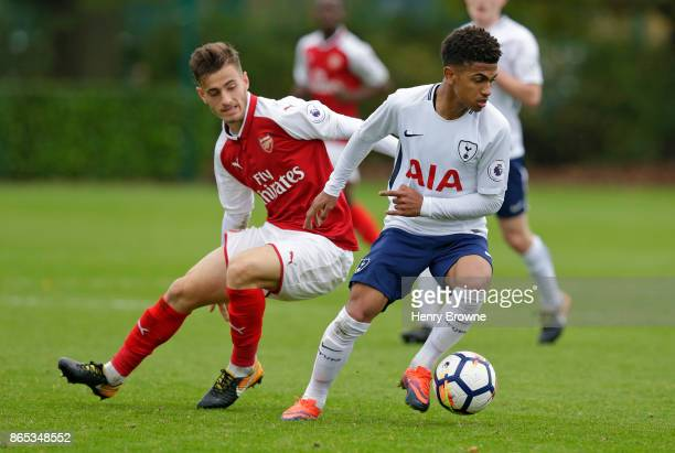 Marcus Edwards of Tottenham Hotspur and Vlad Dragomir of Arsenal during the Premier League 2 game between Tottenham Hotspur and Arsenal on October 23...