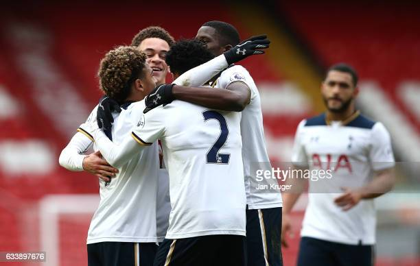 Marcus Edwards of Tottenham Hotspur celebrates his goal with team mates during the Premier League 2 match between Liverpool and Tottenham Hotspur at...