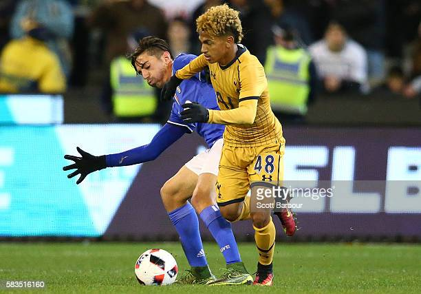Marcus Edwards of Tottenham Hotspur competes for the ball during the 2016 International Champions Cup match between Juventus FC and Tottenham Hotspur...