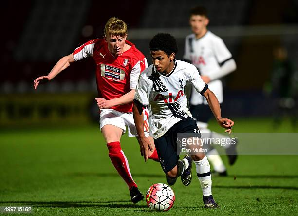 Marcus Edwards of Tottenham Hotspur holds off Alaster Redmayne of Rotherham United during the FA Youth Cup match between Tottenham Hotspur and...
