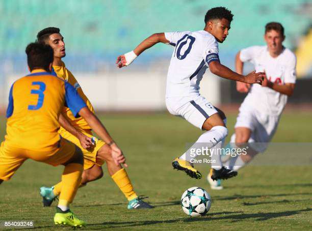 Marcus Edwards of Tottenham Hotspur in action during UEFA Youth League Group H match between Apoel Nicosia and Tottenham Hotspur at Stadium Makarion...