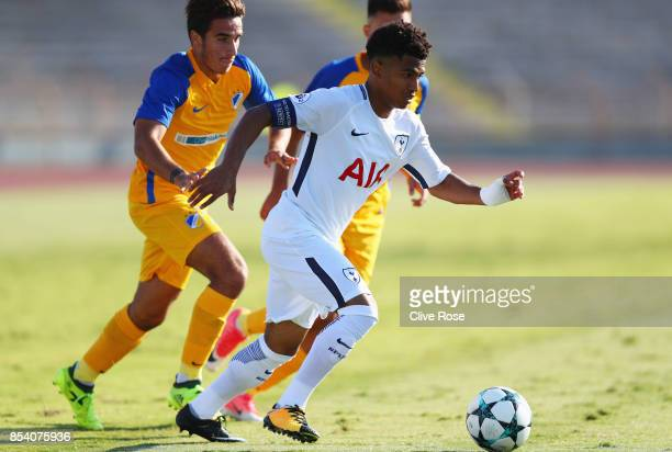 Marcus Edwards of Tottenham Hotspur runs with the ball during UEFA Youth League Group H match between Apoel Nicosia and Tottenham Hotspur at Stadium...