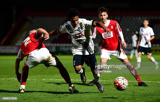 Marcus Edwards of Tottenham Hotspur takes on Fabian Bailey of Rotherham United during the FA Youth Cup match between Tottenham Hotspur and Rotherham...