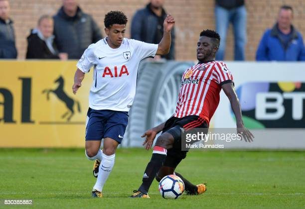 Marcus Edwards of Tottenham Hotspur takes on Papy Djilobodji of Sunderland during the Premier League 2 match between Sunderland and Tottenham Hotspur...