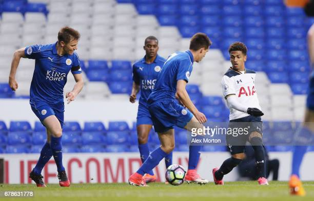 Marcus Edwards of Tottenham in action during the Premier League 2 match between Tottenham Hotspur and Leicester City at White Hart Lane on May 4 2017...