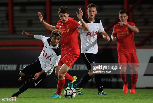 Marcus Edwards of Tottenham looks for a way through the Liverpool defence during the Premier League 2 match between Tottenham Hotspur and Liverpool...